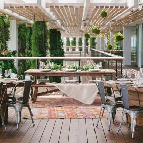 HOME SLIDER IMAGE 1 - Katie Lopez Photography - Thompson Farmhouse Table, Hampton Dining Table, Remington Chairs, Teak Bench, Vintage Rugs - Perez Art Museum - Miami FL
