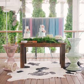 Katie Lopez Photography - Sweetheart Farmhouse Table, Cowhide Rug, Wicker Bases - Perez Art Museum - Miami FL