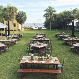 Rehearsal Dinner - Thompson Farmhouse Tables, Holden Tables, Teak Benches, Remington Chairs, Tuscan Chairs - The Barnacle - Coconut Grove FL