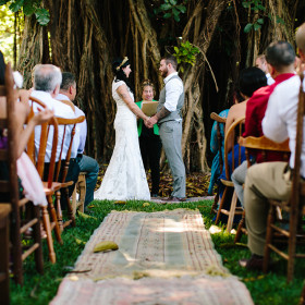 Wedding - Becca Borge Photography - Farmhouse Tables, Mismatched Chairs - Flamingo Gardens - Davie FL (2)
