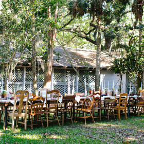 Wedding - Becca Borge Photography - Farmhouse Tables, Mismatched Chairs - Flamingo Gardens - Davie FL