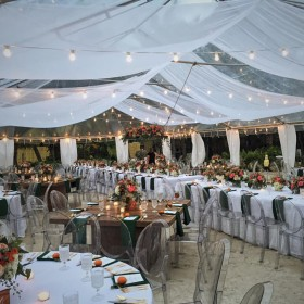 Wedding - Holden Dining Tables, Bistro Lighting - The Caribbean Resort - Islamorada FL