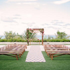 Wedding - Katie Lopez Photography - Teak Benches, Arbor, Ezra Sweetheart Table - The Edition Hotel - Miami Beach FL
