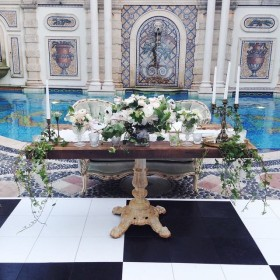Wedding - Sadie Settee, Sinclair Sweetheart Table - Versace Mansion - Miami Beach FL