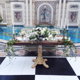 Wedding - Sadie Settee, Sinclair Sweetheart Table - Versace Mansion - Miami Beach FL