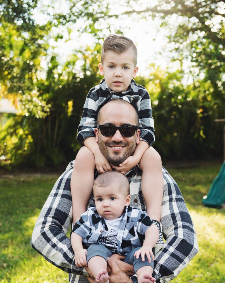 Jovan with his two sons, Sawyer + Charlie